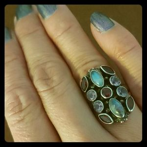 Nicky Butler Moonstone and multigem shield ring